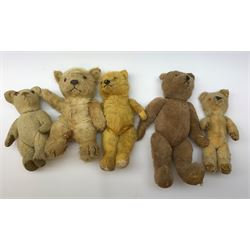 Nine English teddy bears 1950s-60s including wood wool filled Pedigree bear with swivel jointed head, glass eyes, vertically stitched nose and mouth and jointed limbs H14.5