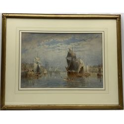 George Weatherill (British 1810-1890): 'The Lower Harbour Whitby', watercolour signed and dated 1877, 39cm x 58cm  Provenance: with Walker Galleries Harrogate, label verso