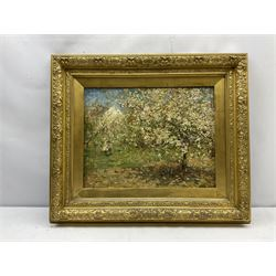 Frederic William Jackson (Staithes Group 1859-1918): 'Blossom' Hinderwell, oil on mahogany panel signed, title label verso 34cm x 44cm  Provenance: exh. Manchester City Art Gallery 'Selected Works' 1918, label verso. The picture was lent for the exhibition by the artist's brother Charles Arthur Jackson, who owned a gallery at 7 Police Street Manchester, it shows the back view of the artist's white cottage at Hinderwell