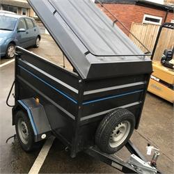 Carro high sided box trailer, hinged lid and tail gate, jockey wheel