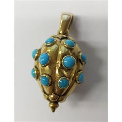 Victorian 18ct gold cabochon turquoise set locket pendant and a pair similar 18ct gold earrings