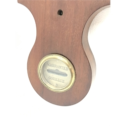 Early 19th century mahogany five dial banjo barometer, swan neck pediment above damp/dry dial and thermometer, silvered engraved register, H107cm