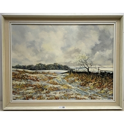 John Freeman (British 1942-): Winter Landscape on the North Yorkshire Moors, oil on board with impasto signed and dated '74, 44cm x 59cm