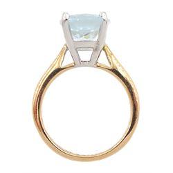 18ct rose gold single stone oval aquamarine ring, hallmarked, aquamarine approx 3.90 carat