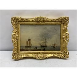 John Ward of Hull (British 1798-1849): Sailing Vessels off the Coast with Flamborough Head in the distance and Stowing the Sails on a French Sloop, pair oils on mahogany panels unsigned 14cm x 22cm (2) Provenance: East Yorkshire private collection; Sotheby's 4th October 2005 Lot 53