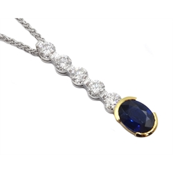 18ct white and yellow gold five round brilliant cut diamond and oval sapphire pendant hallmarked, total diamond weight 1.58 carat, sapphire 2.02 carat, on 18ct white gold chain, stamped 750