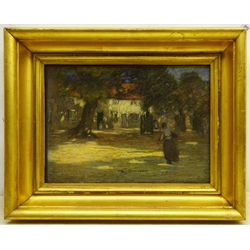 Mark Senior (Staithes Group 1862-1927): Village Cottages in Dappled Sunlight, pastel signed 26cm x 36cm