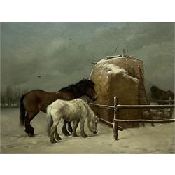 Walter Hunt (British 1861-1941): 'Old Pensioners' - Ponies by a Hayrick in the Snow, oil on canvas signed '82, 70cm x 90cm Provenance: East Yorkshire private collection, same ownership for over 50 years