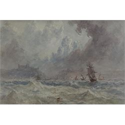 George Weatherill (British 1810-1890): Sailing Vessels in Choppy Seas off Whitby, watercolour unsigned 9cm x 13cm