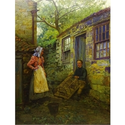 Ernest Higgins Rigg (Staithes Group 1868-1947): Mending the Lobster Pot outside Spout Cottage Runswick Bay, oil on canvas signed 90cm x 70cm