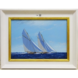James Miller (British 1962-): America's Cup Series the 13th Challenge 1920 'Shamrock IV' & 'Resolute', oil on canvas signed, titled verso 24cm x 34cm