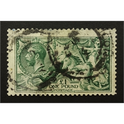 Great Britain King George V (1913) used one pound 'seahorse', S.G.403