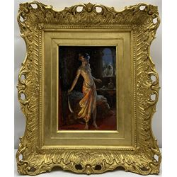 Allan Douglas Davidson (British 1873-1932): 'The Scimitar', oil on panel signed 24cm by 16.5cm Provenance: with The Wroxham Art Gallery, Norfolk, label dated 1926 verso; Tennants Auctioneers 17th November 2011 Lot 1605