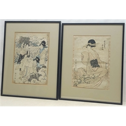 Manner of Kitagawa Utamaro (Japanese 1753-1806): Seated Lady, Japanese Woodblock print 33cm x 23cm and Ladies Harvesting Crops, woodblock prints with character marks 35.5cm x 25cm(2)