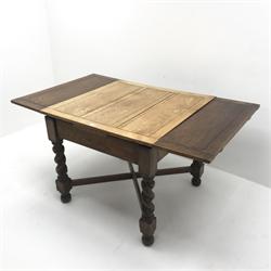 Early 20th century oak barley twist drawer leaf dining table, W88cm, D88cm, H89cm