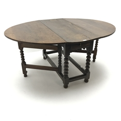 18th century oval oak drop leaf table, bobbin supports, gate leg action, W162cm72cm, D119cm
