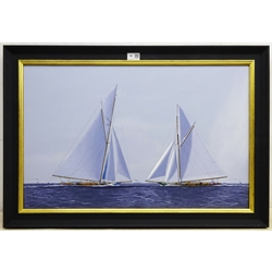 James Miller (British 1962-): America's Cup Series the 10th Challenge 1899 'Columbia' & 'Shamrock', oil on canvas signed, titled verso 45cm x 70cm