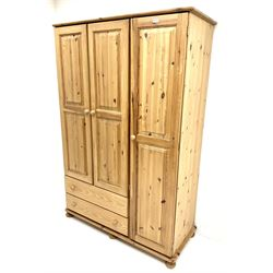 Solid pine triple combination wardrobe, three cupboards, two drawers, turned supports