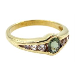 9ct gold oval green and white tourmaline ring, hallmarked