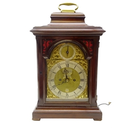 George lll mahogany bracket clock, 24.5cm arched brass dial signed 'John Rapton London' with silvered Roman chapter with Arabid 5-minute divisions, Strike/Silent dial and calendar aperture, eight day twin fusee movement with verge escapement and pull repeat, caddy top case with brass handle and glazed panels, H50cm, W28.5cm, D18cm