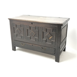 Late 18th century oak mule chest, hinged lid, geometric patterned front panel above single drawer, stile supports, W122cm, H78cm, D56cm