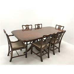 Wade Georgian style mahogany twin pedestal extending dining table, turned supports on shaped brass capped feet (W214cm, H80cm, D100cm) and set six (4+2) Chippendale style chairs, upholstered seat, square supports (W55cm)