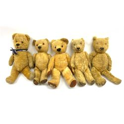 Five English teddy bears 1930s-1950s including three Chiltern, one Chad Valley and another, average H14.5