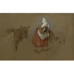 John Frederick Lewis (British 1805-1876): Spanish Woman with a Donkey, watercolour heightened in white over pencil unsigned 16cm x 25cm Provenance: East Yorkshire private collection; Sir John & Lady Witt, their estate sale Sotheby's 19th February 1987 Lot 152 Literature: Major General Michael Lewis, John Frederick Lewis RA, 1978 p.73 No.250