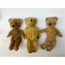 Six English teddy bears c1930s-50s including  wood wool filled Chiltern with swivel jointed head, glass eyes, vertically stitched nose and mouth and jointed limbs with velvet paws H18