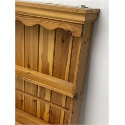 Solid polished pine three tier wall hanging plate rack