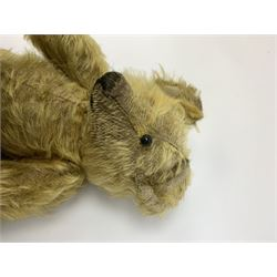 Early 20th century English teddy bear, WW1 period, with wood wool filled mohair body, fixed head with one boot button eye and vertically stitched nose and mouth and jointed limbs with cloth paw pads H16