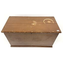 Victorian scumbled pine blanket box enclosed by hinged lid