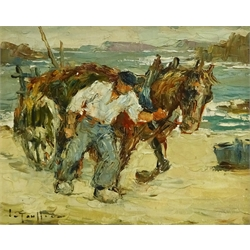 Impressionist School (Early 20th century): The Seaweed Gatherer, oil on board indistinctly signed 20cm x 25cm