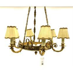 Mid 20th century brass saucer design six branch chandelier centre light fitting