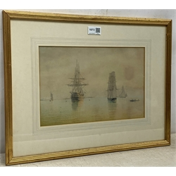 William Frederick Settle (British 1821-1897): Sailing Vessels at Anchor, pair of watercolours unsigned 21cm x 32cm (2)