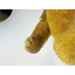 Schuco 'yes-no' teddy bear c1925 with wood wool filled short golden mohair body, linen pads with stitched claws and  tail-operated moving head with glass eyes and vertically stitched nose and mouth H18