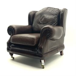 Thomas Lloyd - Traditional shape armchair uphlstered in brown leather