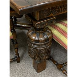 Royal Oak Furniture Co - Jacobean style oak dining table, rectangular top with a lunette carved frieze, acanthus carved baluster cup and cover supports joined by angular stretchers (276cm x 122cm, H81cm), and set ten (8+2) oak framed high back dining chairs upholstered in striped fabric with studded detail, turned supports and stretchers