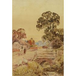 Henry John Yeend King (British 1855-1924): Geese and Horse on a Village Street, watercolour signed 25cm x 17cm