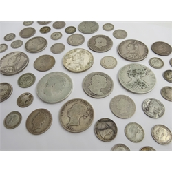 Collection of Queen Anne and later pre 1920 coins including Anne crown (very worn, date illegible), George II 1758 shilling, George III halfcrowns 1816 and 1818, George IV 1826 shilling, Queen Victoria Gothic florins, shillings 1866 and 1873, double florins 1887, 1888 and 1889 etc