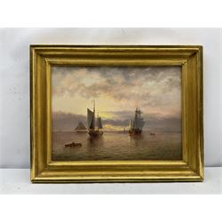 Thomas Lucop (British 1834-1911): Sailing Vessels at Sunset, oil on canvas signed and dated '91, 32cm x 43cm