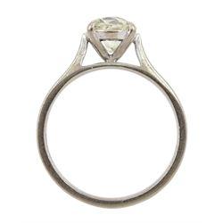 18ct white gold single stone old cut diamond ring, hallmarked, diamond approx 1.40 carat