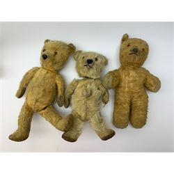 Five British teddy bears 1930s-50s including Irish Tara bear with swivel jointed head, glass eyes, vertically stitched nose and mouth, inoperative musical movement and jointed limbs H15