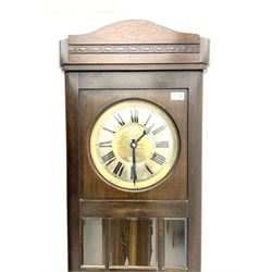 Early 20th century oak longcase clock, brass weight driven, bevelled glass viewing panes