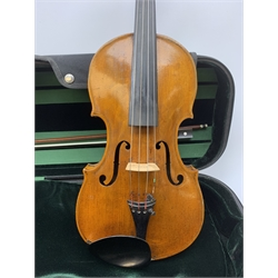 Late 19th century continental violin, possibly Italian, with 36cm two-piece maple back and ribs and spruce top, bears label 'Antonius Stradivarius Anno 1721', 60cm overall; in modern carrying case with silver mounted pernumbuco bow