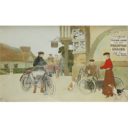 After Cecil Aldin (British 1870-1935), 'For Cycles and Motor Cars Use Only Brampton Chains', chromolithograph pub. Demrus & Sons 24cm x 40cm