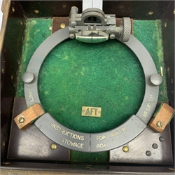 WW2 period Pattern 1152 Azimuth Circle navigation instrument, serial no.10819.H. in paxolin type case; and Pattern 1880 Azimuth Circle, serial no.6870.H. in associated case bearing label 'AFT' (2)