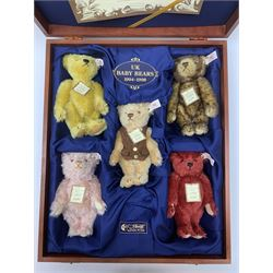 Steiff limited edition British Collector's Baby Bear Set 1994-1998, No.509/1847, comprising five small teddy bears in fitted wooden box with certificate.