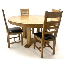 Light oak circular dining table on X-base with straight supports (D150cm, H69cm) and set four ladder back dining chairs (W41cm)