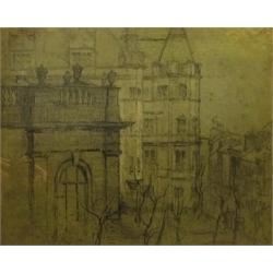 Sir Frank Brangwyn RA, RWS, RBA (British 1867-1956): City Buildings, pencil signed with initials 38cm x 47cm Provenance: purchased from Patrick Payne, Phoenix Fine Art